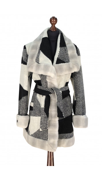 Kabát čierno-biely Aanisah - 5308.1 Color 312
