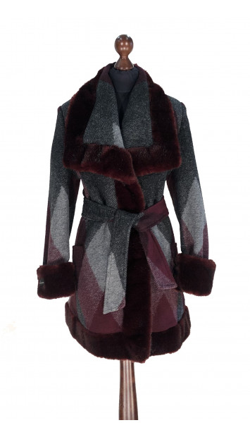 Kabát bordovo-sivý Aanisah - 5308.1 Color 508