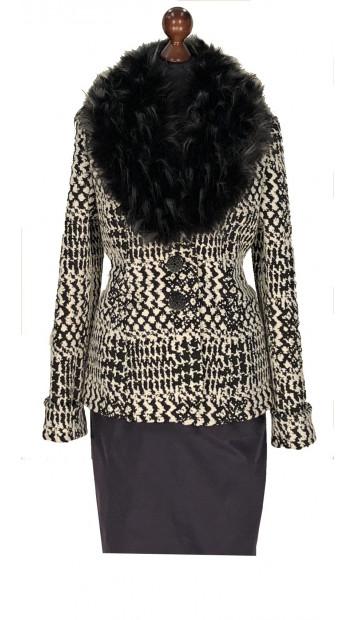 Kabát čierno-biely Aasimah - 5311.1 Color 519