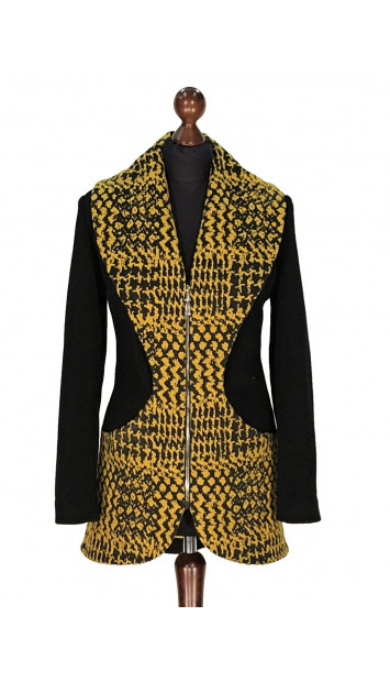 Kabát čierno-žlty Abbas - 5316 Color 77/518
