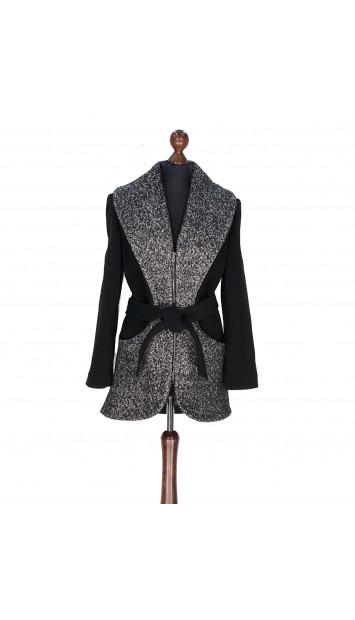 Kabát čierno-biely Abbas - 5316 Color 77/524