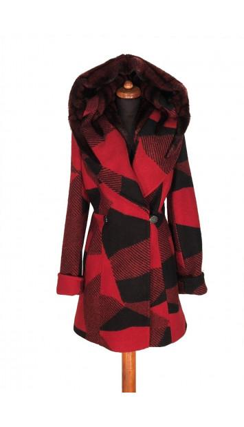 Kabát čierno-červeny Abbulla - 5318 Color 342