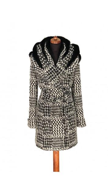 Kabát čierno-biely Abbulla - 5318 Color 519