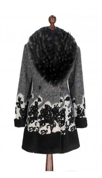 Kabát čierno-biely Akil - 5323.1 Color 515