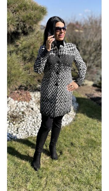 Plášť Čierno biely Assh - 5220.11 color 001