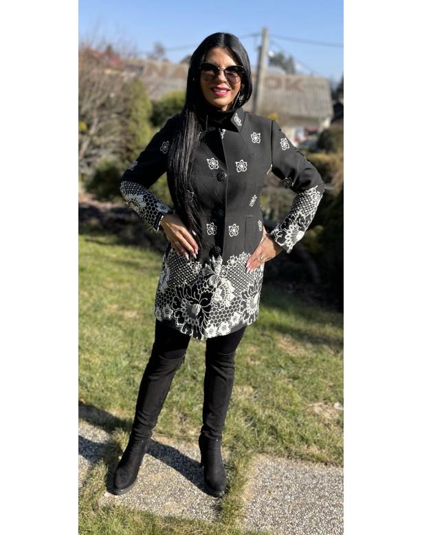 Plášť Čierno biely Assh - 5220.11 color 003
