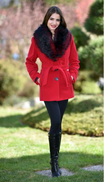 Kabát červený Lincolnik - 5194.1 Color 106
