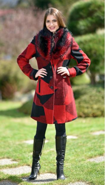 Kabát červený Jara - 5241.1 Color 342