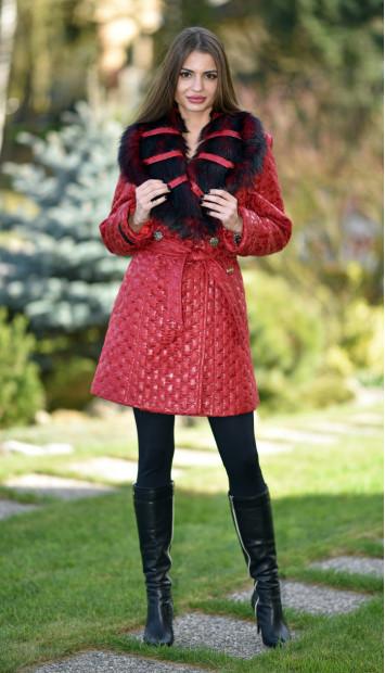 Kabát červený Ivona - 5257.2 color 140