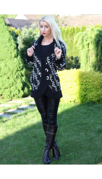 Kabát čierny Hortenzia - 5164.1 COLOR 145/77