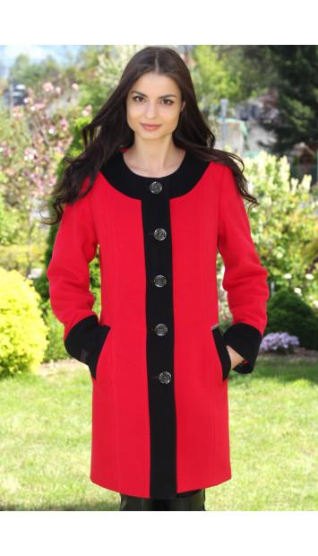 Kabát červený  Jozefína - 5165 COLOR 106/77