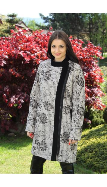 Kabát čierno biely Darina - 5171.1a COLOR 187/77