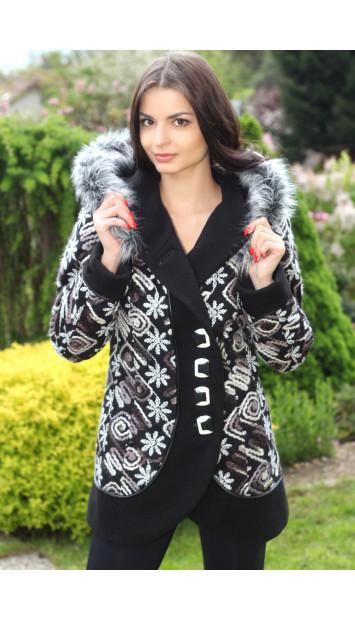 Kabát čierny Lýdia - 5183.1 COLOR 144/77