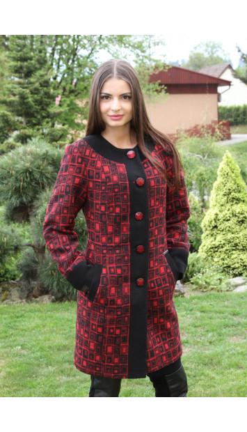 Kabát červený Jozefína - 5165.1 COLOR 287/77
