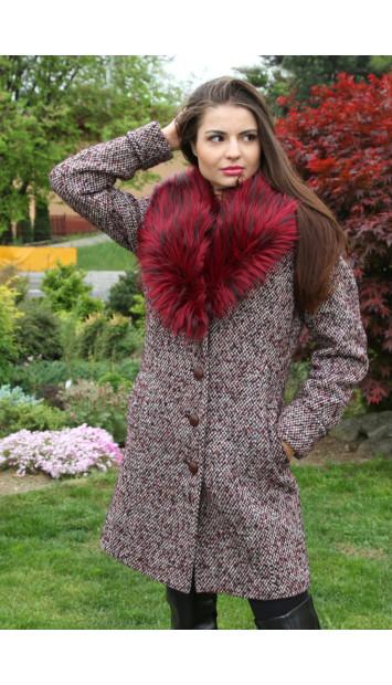 Kabát bordový Iviva - 5217.1 COLOR 307