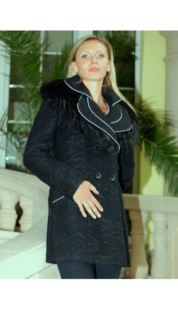 Kabát čierny Justina - 39729