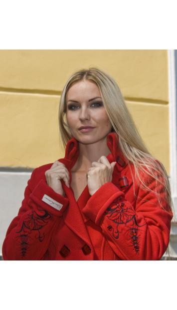 Kabát červený Tina - 4028 ČEČI